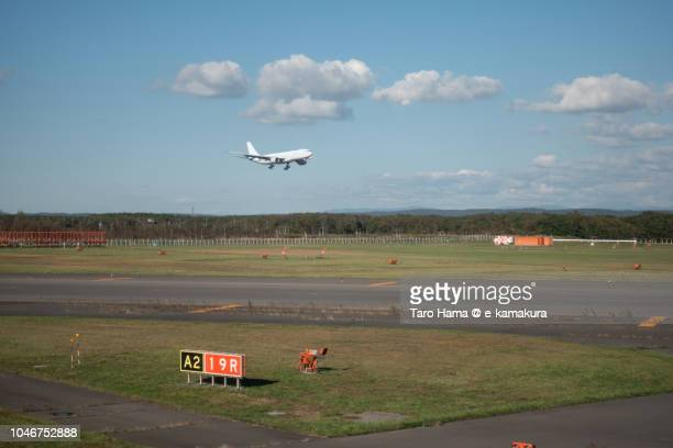The airplane landing on Hokkaido New Chitose Airport (CTS) in Japan