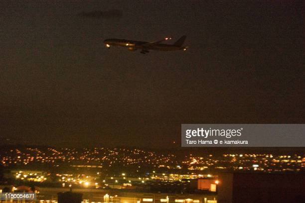 The airplane landing on Los Angeles International Airport (LAX) in California