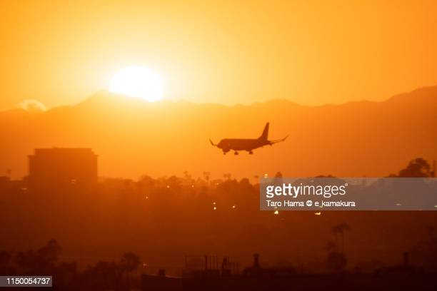 the airplane landing on los angeles international airport (lax) in california - lax airport stock pictures, royalty-free photos & images