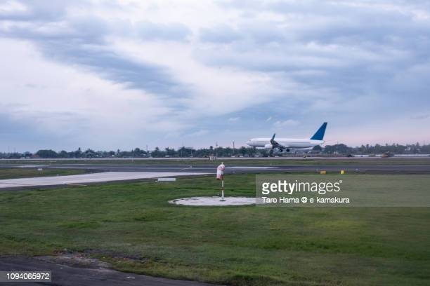 The airplane landing on Soekarno–Hatta International Airport in Indonesia