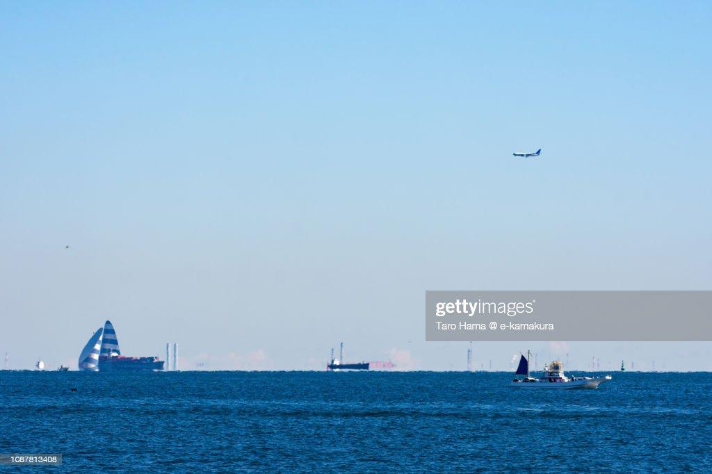 The airplane landing on Tokyo Haneda International Airport in Japan : Stock Photo