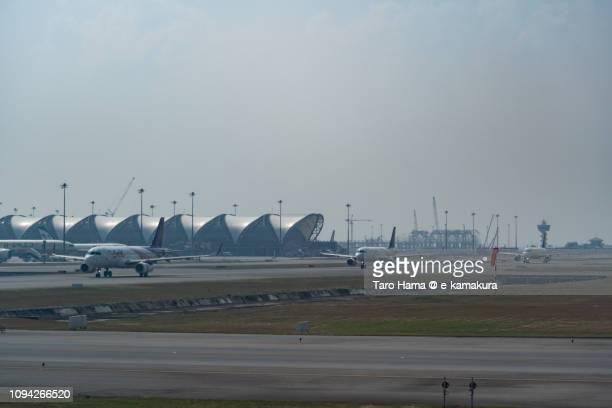 The airplane moving to the departure area in Bangkok Suvarnabhumi International Airport