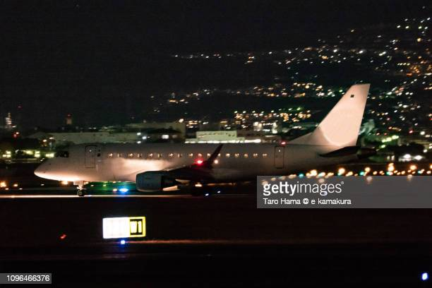The airplane moving to the departure area of Osaka International Airport Itami (ITM) in Japan