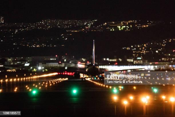 The airplane taking off Osaka International Airport Itami (ITM) in Japan