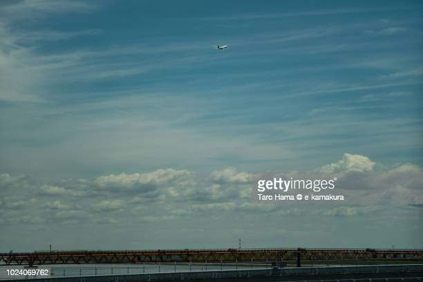 The airplane taking off Tokyo Haneda International Airport in Japan