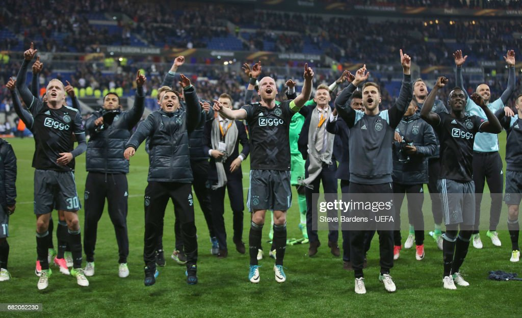 The Ajax Amsterdam players celebrate their victory over Olympique Lyonnais after the Uefa Europa League, semi final second leg match, between Olympique Lyonnais Lyon and Ajax Amsterdam at Parc Olympique on May 11, 2017 in Lyon, France.