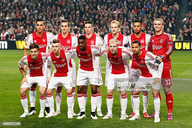 The Ajax team pose for the cameras prior to kickoff during the UEFA Europa League Round of 16 second leg match between AFC Ajax v FC Dnipro...