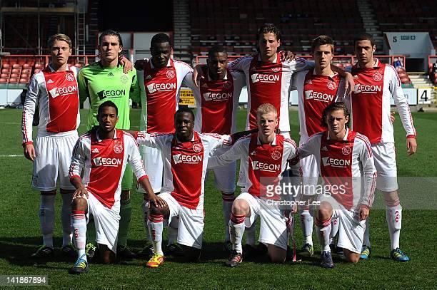 The Ajax U19 team line up during the NextGen Series Final between Ajax U19 and Inter Milan U19 at Matchroom Stadium on March 25 2012 in London England