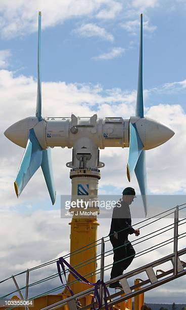 The AK 1000 tidal energy turbine is prepared to be loaded onto a barge on August 12 2010 in Invergordon Scotland The turbine is seventy three feet...