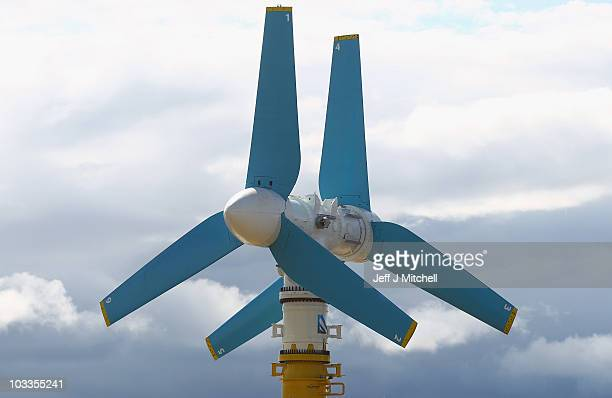 The AK- 1000 tidal energy turbine is prepared to be loaded onto a barge on August 12, 2010 in Invergordon, Scotland. The turbine is seventy three...