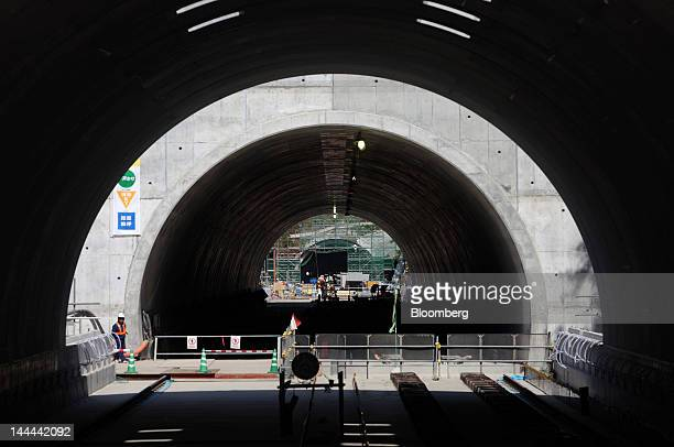The Akiyama tunnel which is under construction for Central Japan Railway Co's magneticlevitation train line is seen in Uenohara City Yamanashi...