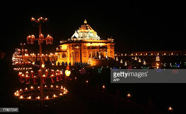 The Akshardham Temple at Gandhinagar nearly 30 kms from Ahmedabad is lit with nearly 10000 oil lamps for the Diwali the 'festival of lights' 09...