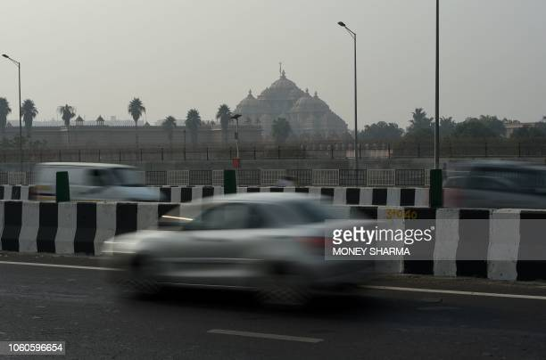 The Akshardham temple is amidst heavy smog in New Delhi on November 12 2018 Air pollution in New Delhi hit hazardous levels on November 8 after a...