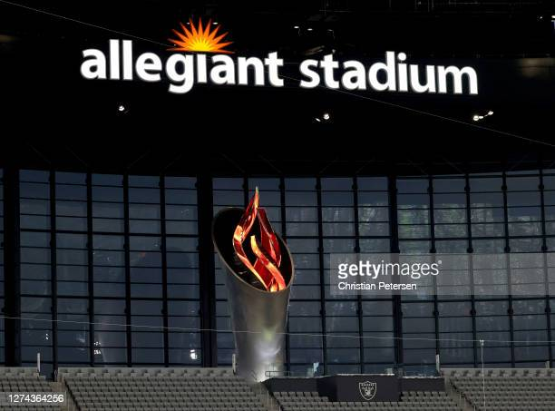 The Al Davis Memorial Torch is seen during to the game between the Las Vegas Raiders and the New Orleans Saints at Allegiant Stadium on September 21...
