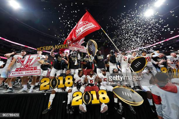 The Alabama Crimson Tide celebrates beating the Georgia Bulldogs in overtime and winning the CFP National Championship presented by ATT at...