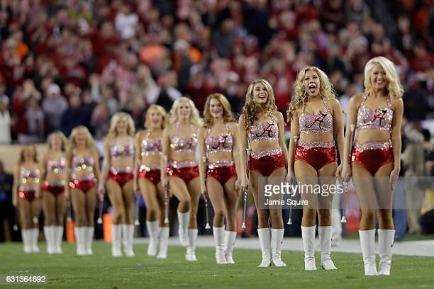 The Alabama Crimson Tide cheerleaders perform before the Tide takes on the Clemson Tigers in the 2017 College Football Playoff National Championship...
