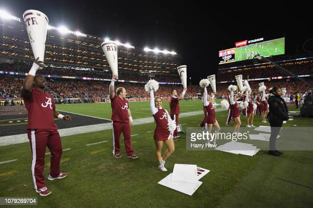 The Alabama Crimson Tide cheerleaders perform in the CFP National Championship presented by ATT at Levi's Stadium on January 7 2019 in Santa Clara...