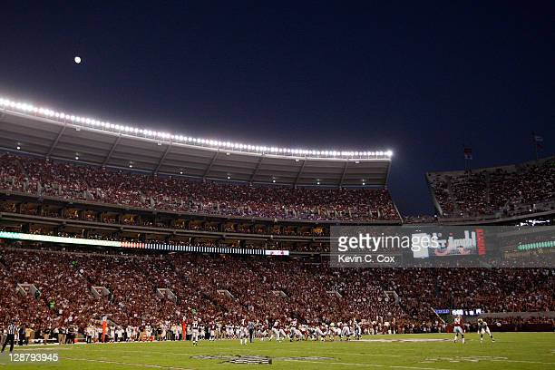 The Alabama Crimson Tide defense lines up under the moonlight against the Vanderbilt Commodores offense at BryantDenny Stadium on October 8 2011 in...