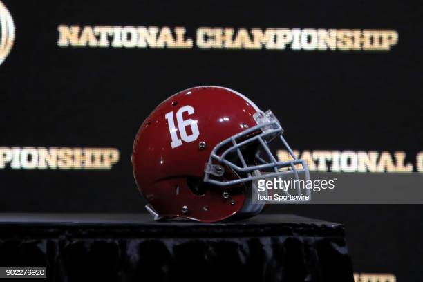 The Alabama Crimson Tide helmet on display at the Head Coaches News Conference for the 2018 National Championship The press conference was held on...