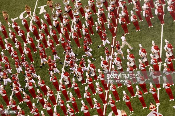 The Alabama Crimson Tide is led out onto the field by head coach Nick Saban before taking on the Utah Utes during the 75th Allstate Sugar Bowl at the...