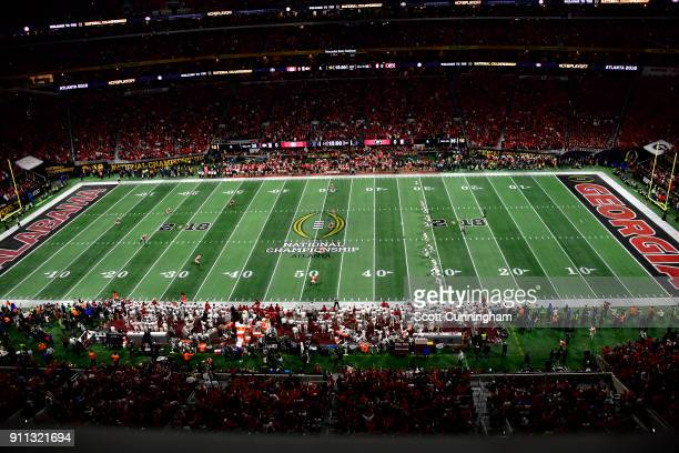 The Alabama Crimson Tide kick off against the Georgia Bulldogs in the CFP National Championship presented by ATT at MercedesBenz Stadium on January 8...
