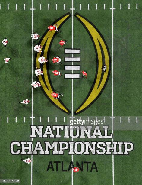 The Alabama Crimson Tide line up against the Georgia Bulldogs during the second half in the CFP National Championship presented by AT&T at...