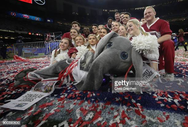 The Alabama Crimson Tide mascot and cheerleaders celebrate after the AllState Sugar Bowl against the Clemson Tigers at the MercedesBenz Superdome on...