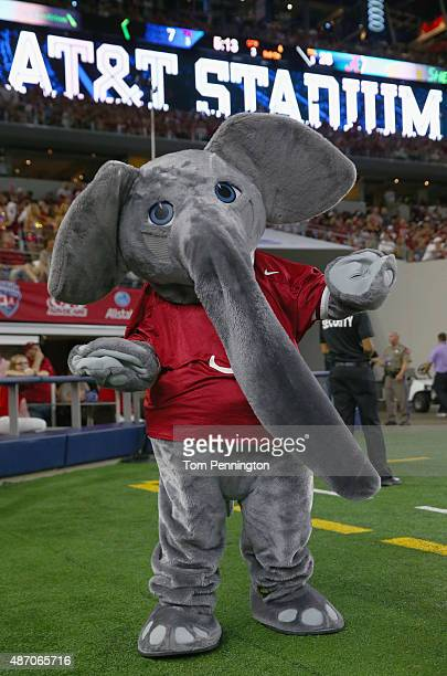 The Alabama Crimson Tide mascot Big Al performs as Alabama takes on the Wisconsin Badgers during The Advocare Classic at ATT Stadium on September 5...
