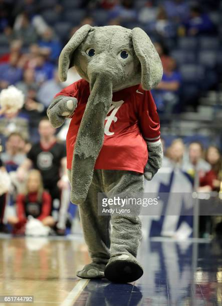 The Alabama Crimson Tide mascot performs against the South Carolina Gamecocks during the quarterfinals of the SEC Basketball Tournament at...
