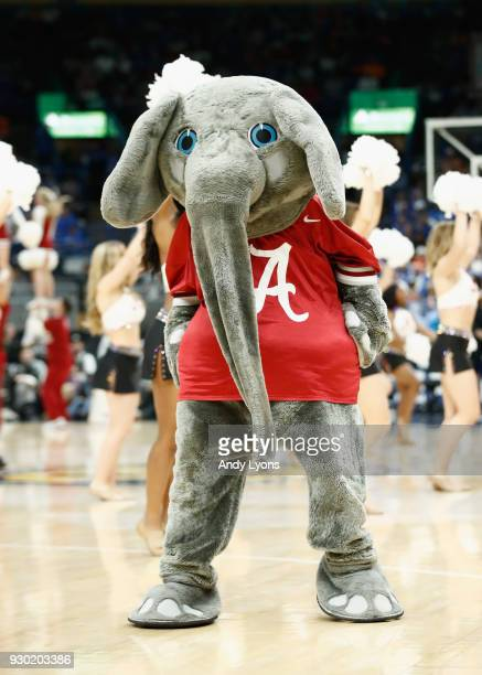 The Alabama Crimson Tide mascot performs in the game against the Kentucky Wildcats during the semifinals of the 2018 SEC Basketball Tournament at...