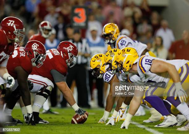 The Alabama Crimson Tide offense faces the LSU Tigers defense at BryantDenny Stadium on November 4 2017 in Tuscaloosa Alabama