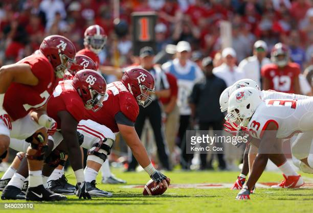 The Alabama Crimson Tide offense lines up against the Fresno State Bulldogs defense at BryantDenny Stadium on September 9 2017 in Tuscaloosa Alabama
