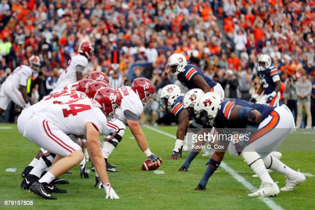 The Alabama Crimson Tide offense lines up for a play during the first quarter against the Auburn Tigers at Jordan Hare Stadium on November 25 2017 in...