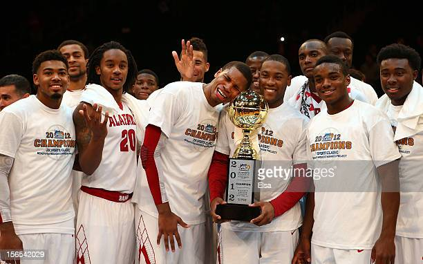 The Alabama Crimson Tide poses with the trophy after the Championship Game of the 2012 2K Sports Classic on November 16 2012 at Madison Square Garden...