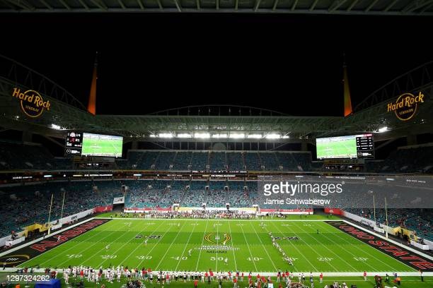 The Alabama Crimson Tide take on the Ohio State Buckeyes during the College Football Playoff National Championship held at Hard Rock Stadium on...