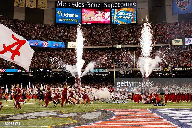 The Alabama Crimson Tide take the field prior to the All State Sugar Bowl against the Ohio State Buckeyes at the MercedesBenz Superdome on January 1...