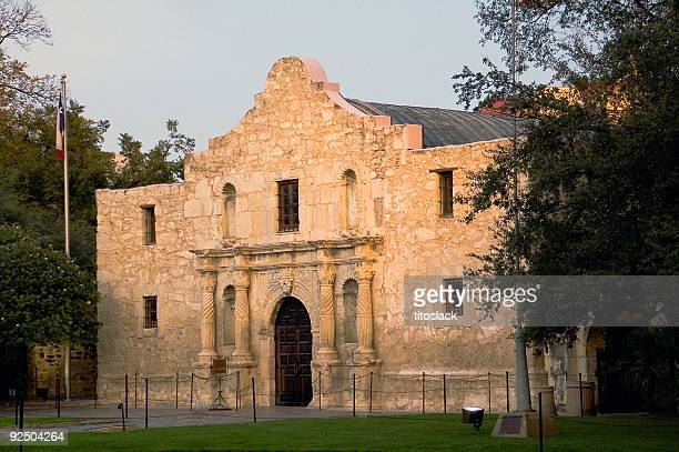 the alamo at dusk - alamo stock pictures, royalty-free photos & images
