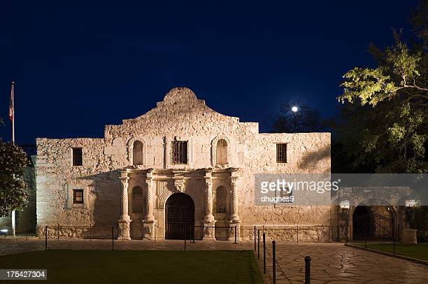 The Alamo, San Antonio Texas with full moon through trees