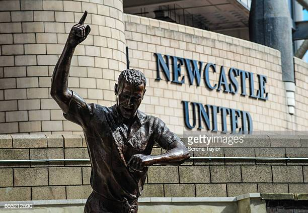 The Alan Shearer Statue on Barrack Road at StJames' Park on September 12 in Newcastle upon Tyne England