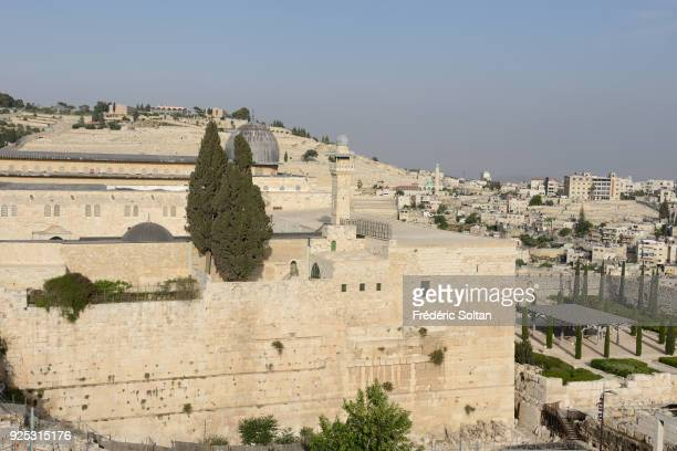 The AlAqsa Mosque aka AlAqsa and Bayt alMuqaddas on the esplanade of the Mosques and the Mount of Olives in the Old City of Jerusalem on April 20...