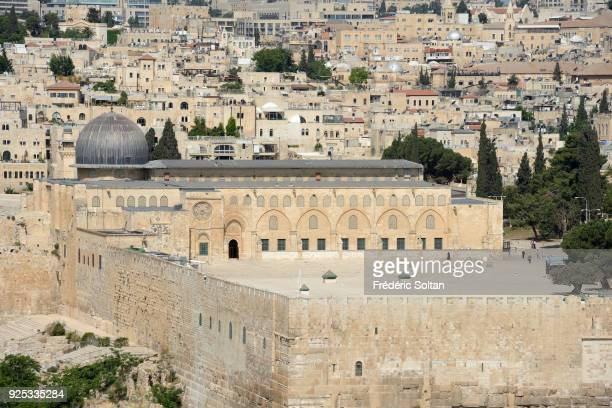 The AlAqsa Mosque aka AlAqsa and Bayt alMuqaddas on the esplanade of the Mosques in the Old City of Jerusalem on April 20 2014 in Jerusalem Israel