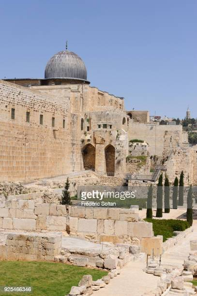 The AlAqsa Mosque aka AlAqsa and Bayt alMuqaddas on the esplanade of the Mosques in the Old City of Jerusalem on May 18 2014 in Jerusalem Israel