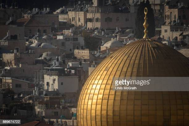 The AlAqsa Mosque is seen in front of buildings in the Old City on December 10 2017 in Jerusalem Israel In an already divided city US President...
