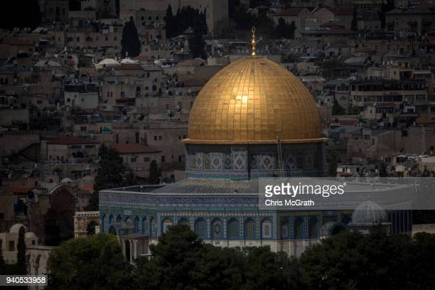 The AlAqsa Mosque is seen in the Old City on March 31 2018 in Jerusalem Israel Thousands of tourists and pilgrims have descended on the holy city of...