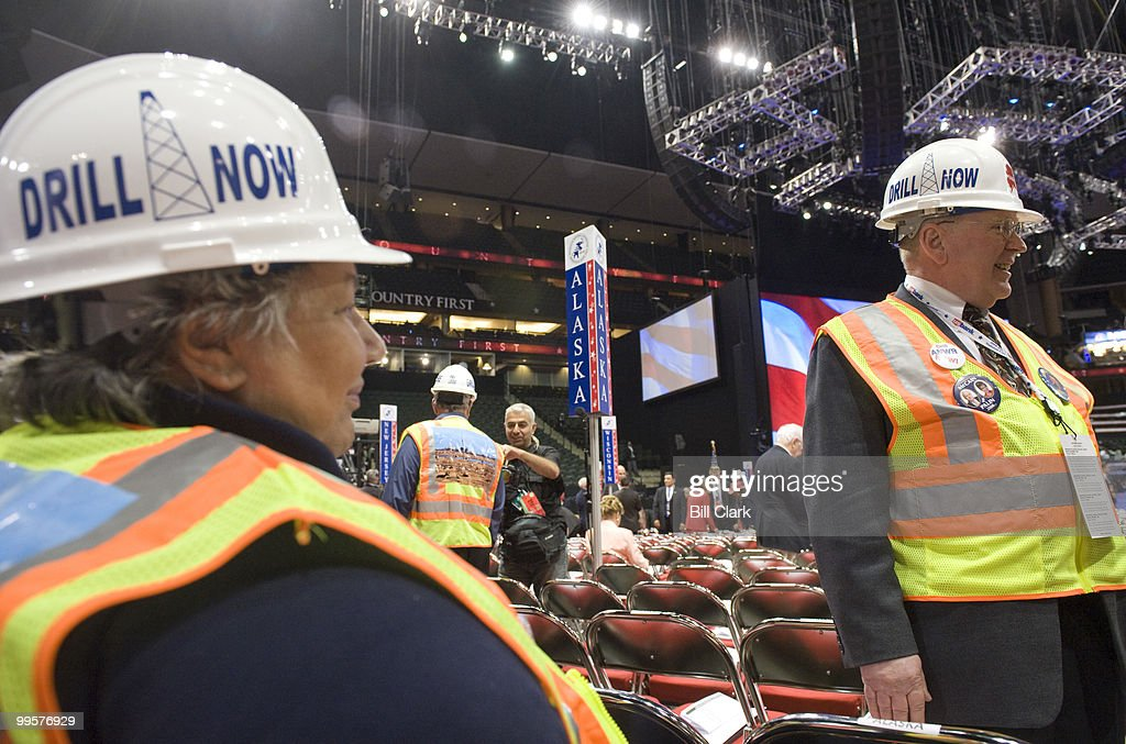 The Alaska delegation wore hard hats which read 'Drill Now' on the floor of the Republican National Convention at the Xcel Center in St. Paul, Minn., on Tuesday, Sept. 2, 2008.