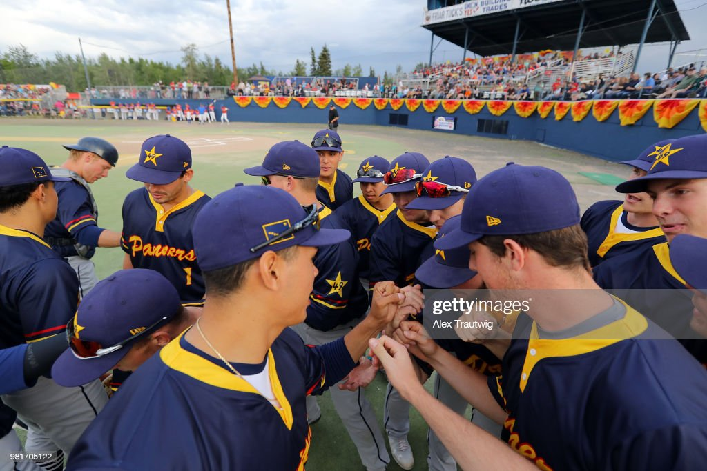 The Alaska Goldpanners Huddle Prior To The 113th Midnight Sun Game News Photo Getty Images