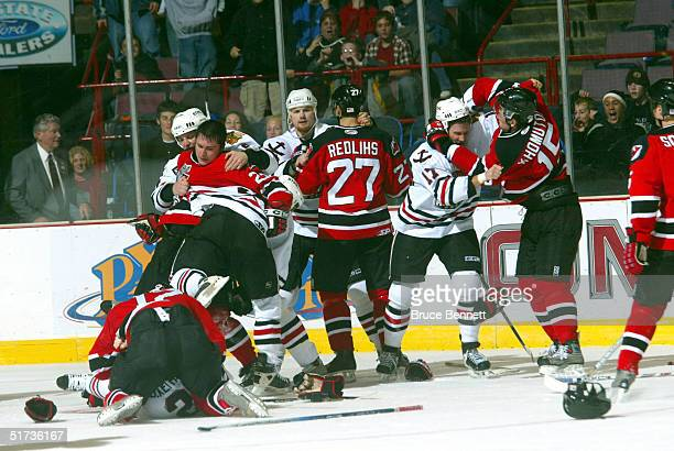 The Albany River Rats game against the Norfolk Admirals ends in a massive brawl at Pepsi Arena on November 12, 2004 in Albany, New York. The Admirals...