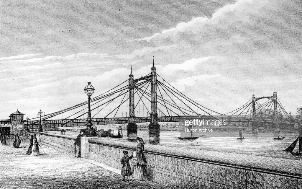 The Albert Bridge between Chelsea and Battersea in London, circa 1885. Opened in 1872, it was named after the consort of Queen Victoria.