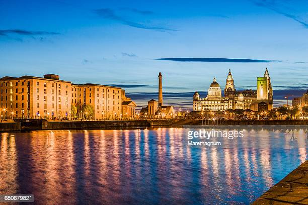 the albert dock and the three graces - liverpool england stock pictures, royalty-free photos & images