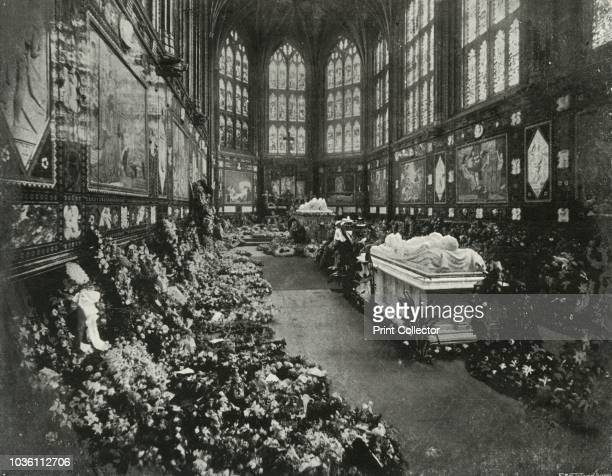 The Albert Memorial Chapel Windsor on the Occasion of the Funeral of HRH The Duke of Clarence January 1892' 'The Duke's coffin stands between the...